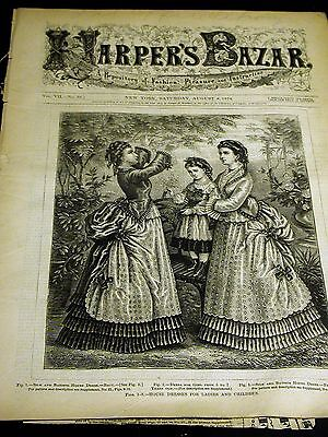 Harper's Bazar August 8 1874 with Rare Infant Toddler Childs PATTERN Supplement
