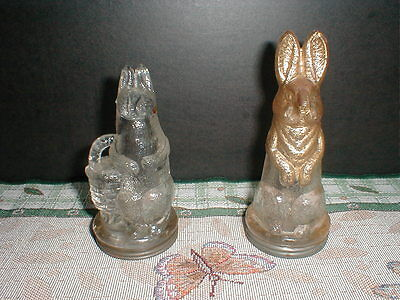 Old Glass Candy Container - Two Bunnies - Victory Glass Co. Rabbit Paws & Basket