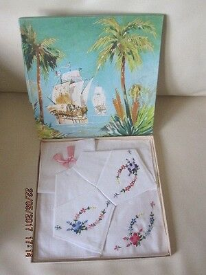 3 Ladies Vintage Cotton Handkerchiefs With Embroidered Flowers - New In Box