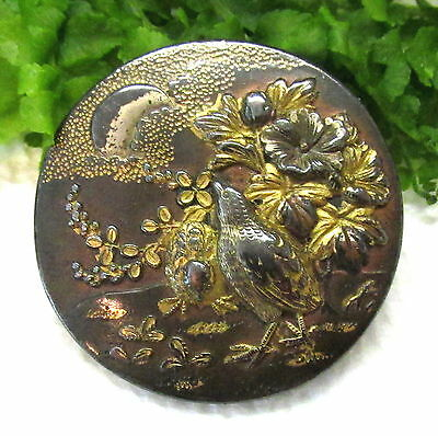 Lovely Antique Japanese Shakudo Stud Button With Bird~Moon~Flowers S44