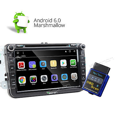 OBD-II HD Android6.0 Car Multi Touch Screen DVD Player Fits VW Skoda Seat Golf A