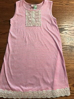 Twirls And Twigs Girls Size 6X Pink, White Striped Sleeveless Dress With Lace