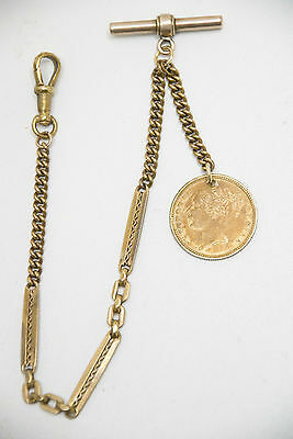 Antique Gold Plated  Pocket Watch Chain + Victorian Double Eagle Fob