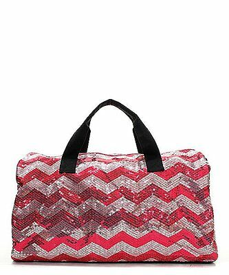 Sequin Chevron Stripe Large Duffel Bag with Shoulder Strap (Hot Pink)