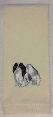 Japanese Chin, Hand Towel, Embroidered, Custom, Personalized, Dog, Black & White