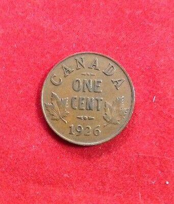 1926 Canada Small Cent Penny Canadian One Coin - George V