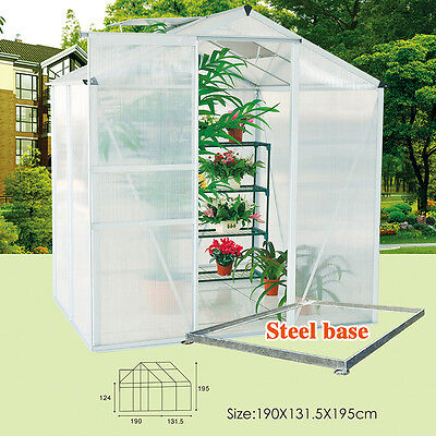 6x4ft Aluminum Polycarbonate Clipless Greenhouse With Foundation Side Roof  Vent