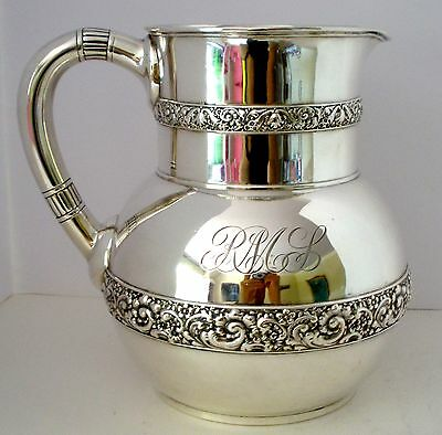 Tiffany Sterling Silver Water Pitcher Repousse Bands C. 1885