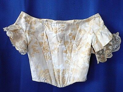 Antique vintage Silk Brocade Lace Dress Bodice 1850s Civil War Wedding Bridal