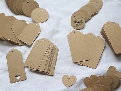 AU STOCK! 100PCS DIY Kraft Brown Gift Paper Thank You Tags