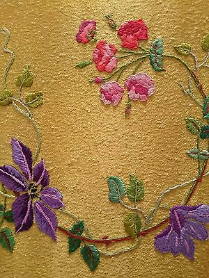 Lovely Vintage Hand Embroidered  Picture Panel ~ Carnations Passion Flowers