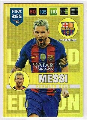 Lionel Messi PREMIUM GOLD Panini FIFA 365 2016-2017 LIMITED EDITION Card ☆☆☆☆☆