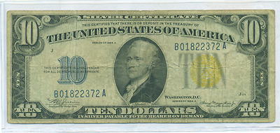 1934 A $10 Silver Certificate Yellow Seal North Africa