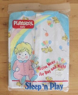 VTG 1986 Playskool Baby Sleep n Play Bear Sleeper Pajamas Sz L 18-24lbs USA Made