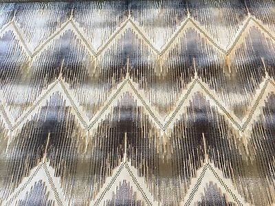 Kravet Cut Velvet Chevron Ikat Upholstery Fabric- Reimagined / Platinum 4.90 yd