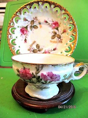 Vintage Opalescent TEA CUP Lace SAUCER Royal Sealy China Rose & flower gold trim