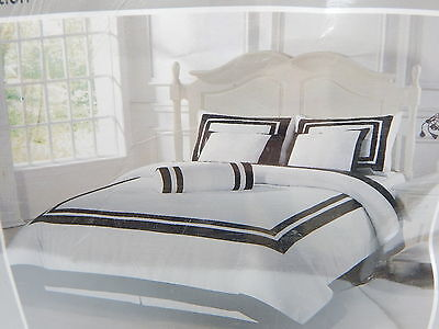 Chezmoi Collection 7 Pc Caprice Square Pattern Comforter Set, Cali King, Blk/Wht