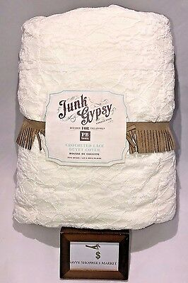 Pottery Barn Teen Junk Gypsy Crotched Lace Full / Queen Duvet Cover Ivory New