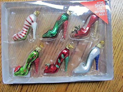 High Heel Shoes Christmas Ornament- Kurt S Adler-Set Of 6 -New In Pkg!