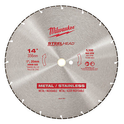 "New Milwaukee 49-93-7840 Large 14"" Steelhead Diamond Cut Off Blade Sale Price"