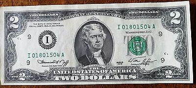 1976  I/A (MINNEAPOLIS) $2 Federal Reserve Note Two Dollar Bill CU