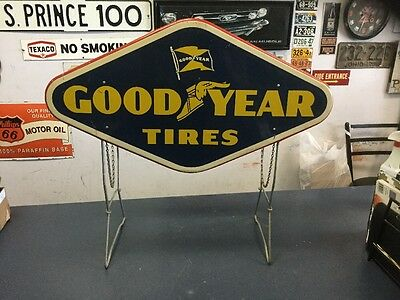 Goodyear Tire Advertising Display Rack w/ 2 Sign 1957 Non Porcelain Rare Tires