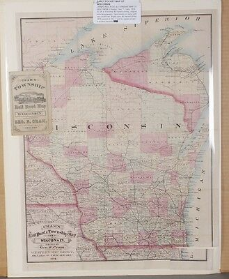 Cram's Rail Road & Township Map of Wisconsin. 1876 Lot 311