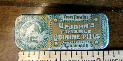 Antique Upjohn's Quinine Pills Medicine Tin