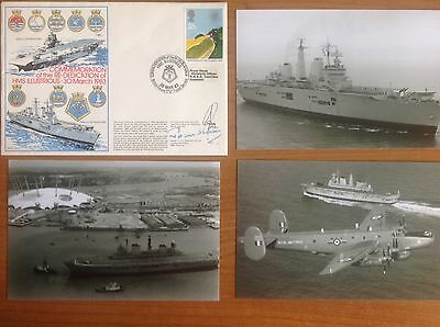 Royal Navy FAA FDC - HMS ILLUSTRIOUS Re-Dedication 1983 - 2 Signed + 3 Photos