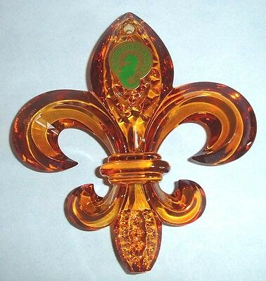 Waterford Fleur de Lys Ornament Amber Crystal with Jeweled Enhancer New in Box