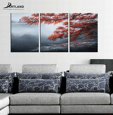 Canvas Oil Painting Landscape Tree Wall Art Hand Painted Framed for Living Room