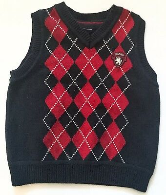 Argyle Navy Blue Red White Sweater Vest Size 6 Picture Day Dressy Tommy Hilfiger