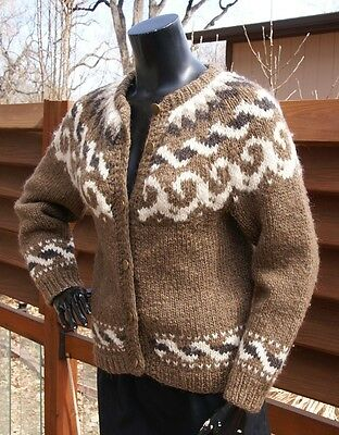 vintage hand knit thick WOOL COWICHAN button up SWEATER women's s/m mohair