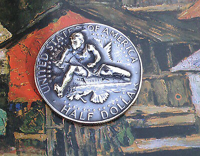 1967 Kennedy Half Dollar Repousse Coin -- Hurdler -- pop punched out coin