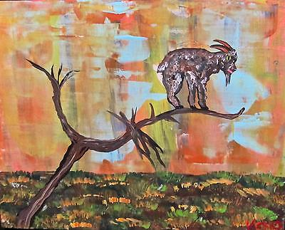 "GOAT in a TREE 8"" x 10"" wood painting~KENO FOLK ART outsider~COASTWALKER~USA"