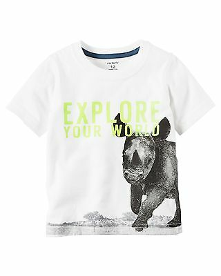 New Carter's Rhino Graphic Front & Back Tee Shirt Top NWT 2t 3t 4t 5t 6 7 8 Boys