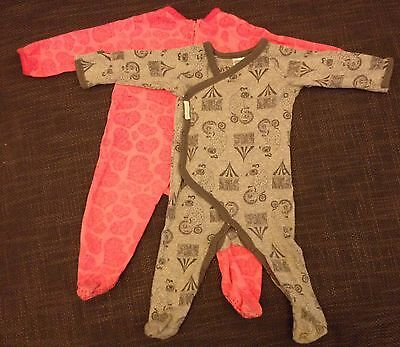 2 x Baby girl's rompers bodysuits size 00 pink & grey