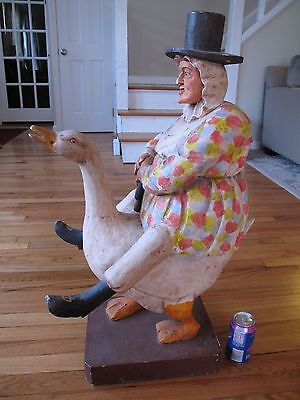 """ANTIQUE HAND CARVED WOODEN MOTHER GOOSE Large 32"""" Folk Art Hand-Painted Carving"""