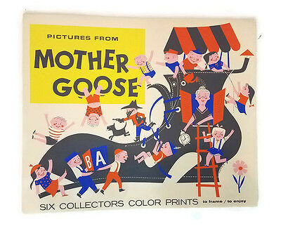 Vintage 60's Mother Goose Five of Six Collectors Color Prints in Folio to Frame
