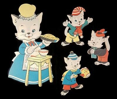 1959 Vintage 3 Little Kittens Dolly Toy Co. Nursery Wall Pin-Ups Mother Goose