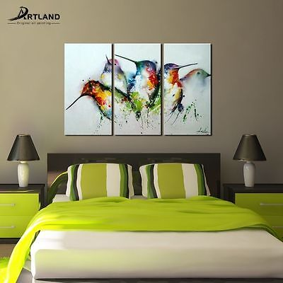 """Modern Canvas Wall Art Hand Painted Animal Oil Painting """"Colorful Birds"""" Unframe"""