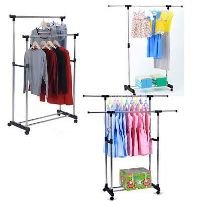 Single/Dual Pole Garment Rack Adjustable Clothes Drying Hanging Bar Rolling Rail