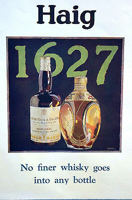 John Haig and Haig 1929 GOLD LABEL SCOTCH WHISKEY Matted Print Advertising