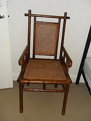 Antique Carved Bamboo Cane Chair