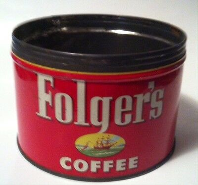 Vintage Coffee Can FOLGER'S 1 LB. Ship
