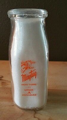 Maytag  Dairy 1/2 Pint Square  Milk Bottle~RARE☆Newton, IA (not AE)