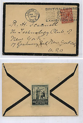 Great  Britain  mournig cover exhibition cancel 1923 to US  +  label      MS0305