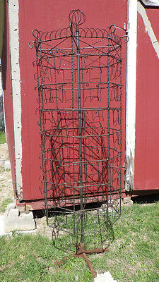 Antique Vintage Wire Card Jewelry Round Rotating Store Display Rack 6'