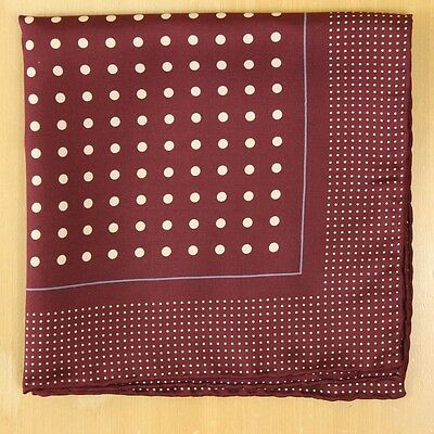 Bordeaux w White Polka Dot Pocket Square Hand Rolled Edges Made in Italy