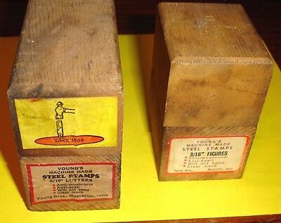 """Vintage Young's Machine Made Steel Stamps 3/16"""" Letters and Numbers w/ Boxes"""